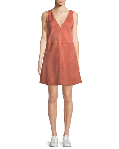 V-Neck Sleeveless Leather Shift Dress