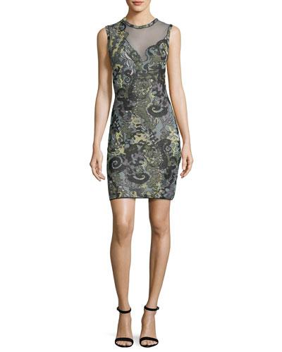Sea Jacquard Illusion Mini Dress