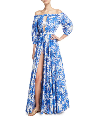 Jenny Off-the-Shoulder Slit Front Floral-Print Maxi Coverup Dress
