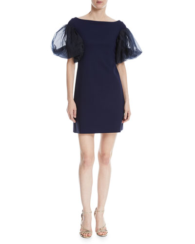 Audelle Organza Puff-Sleeve Mini Dress