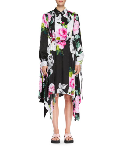 Multi-Print One-Sleeve Draped Midi Dress