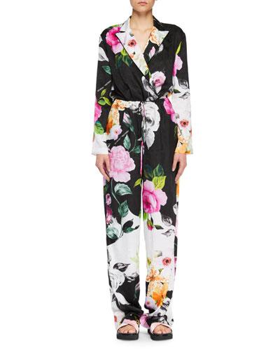 Long-Sleeve Floral-Jacquard Wide-Leg Silk Jumpsuit