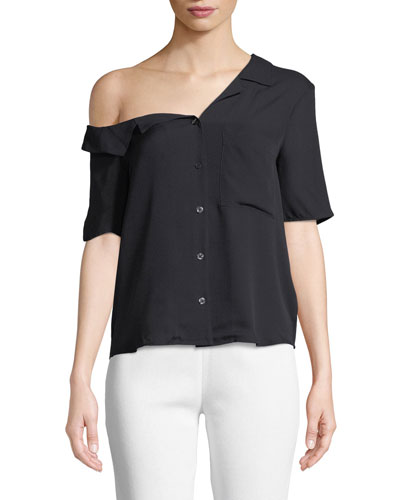 Josephine One-Shoulder Button-Front Silk Top