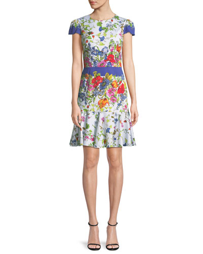 Karissa Floral-Print Short-Sleeve Cotton Dress