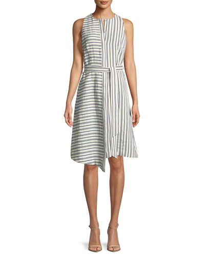 0a38d212a20 Morgan Narrow-Stripe Sleeveless Dress Quick Look. Milly