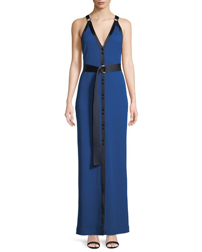 Sleeveless Ribbed Jersey Maxi Dress