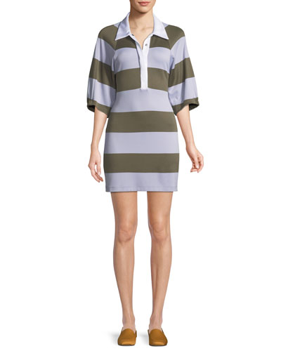 Colorblock Rugby Shirtdress
