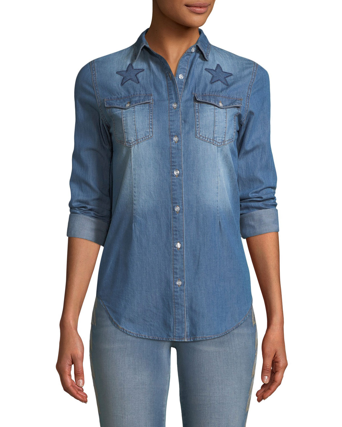 Etienne Marcel BUTTON-FRONT LONG-SLEEVE DENIM SHIRT WITH STARS EMBROIDERY