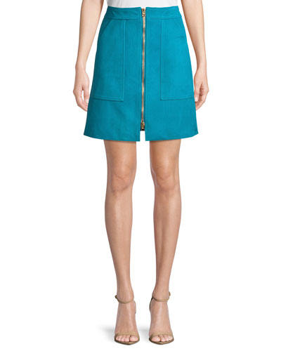 Patch Pocket Zip-Front Mini Skirt