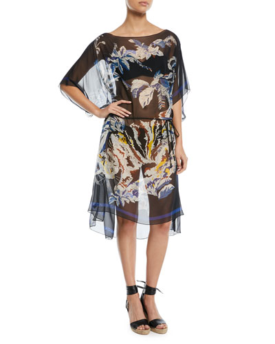 Jungle-Print Sheer Silk Kaftan