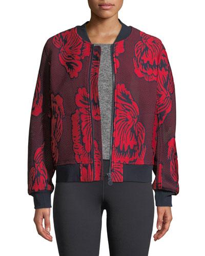 Soho Floral-Embroidered Mesh Bomber Jacket