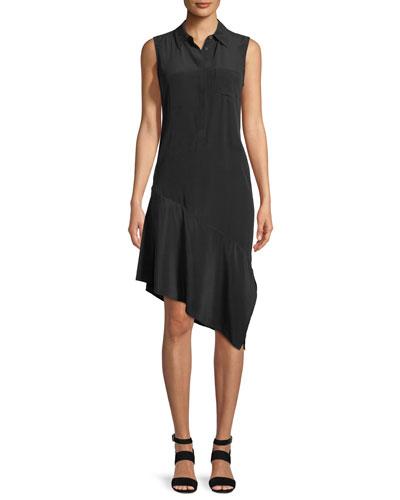Tira Sleeveless A-Line Silk Dress with Asymmetric Hem