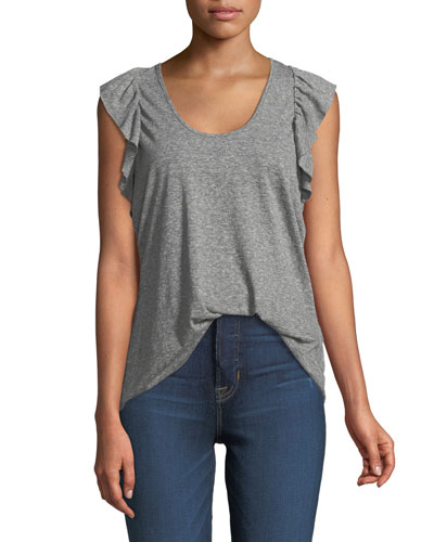 The Cadence Scoop-Neck Racerback Tank with Ruffle Sleeves