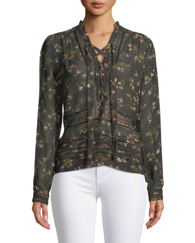 Sunny Lace-Up Floral-Print Chiffon Blouse with Lace Trim