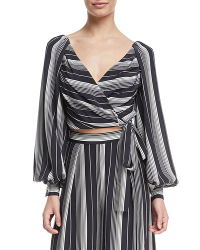 Breeze Long-Sleeve Striped Silk Wrap Blouse