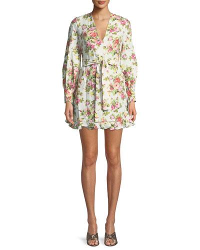 Flounce Belted Floral-Print Linen Dress