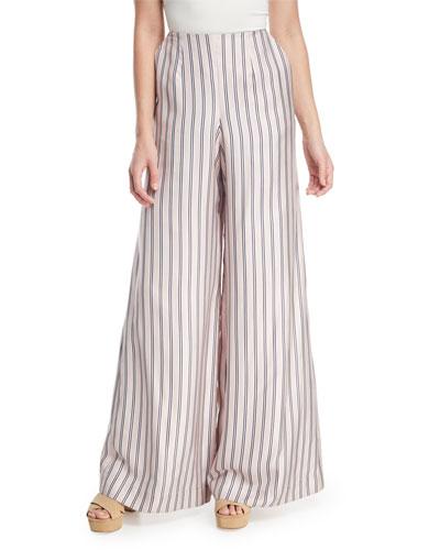 Sunny Wide-Leg Striped Satin Pants