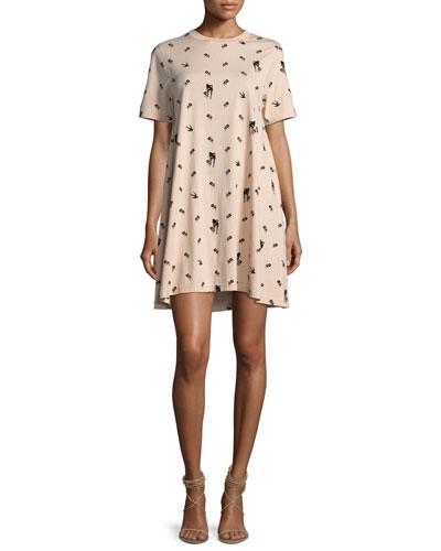 Babydoll Mini Short-Sleeve Dress