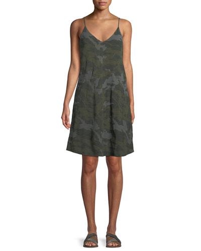 V-Neck Camo-Print Cotton Slip Dress