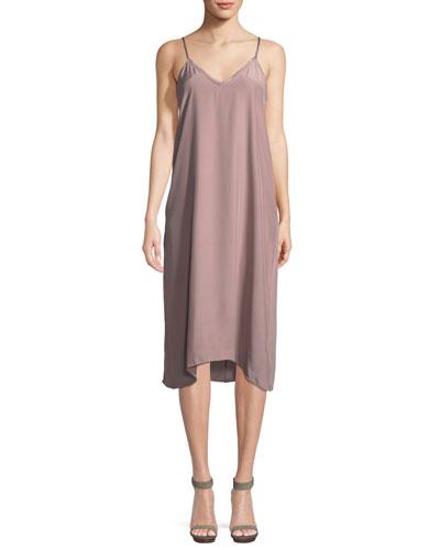 V-Neck Silk Charmeuse Midi Slip Dress