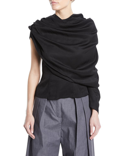 One-Sleeve Draped Button-Back Blouse