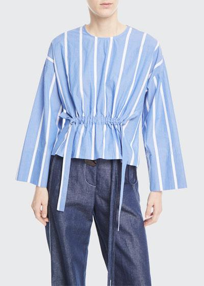 Brooke Crewneck Drawstring-Waist Striped Cotton Blouse