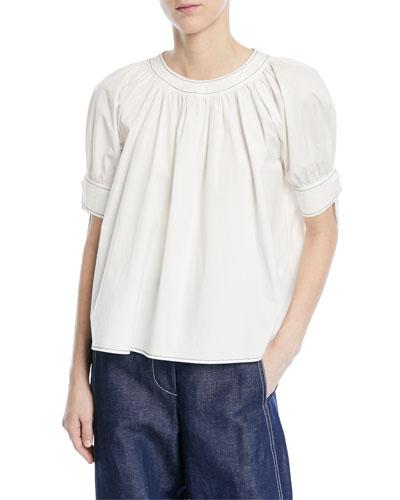 Hailey Crewneck Short-Sleeve Cotton Blouse
