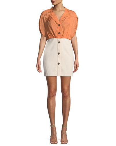 Yana Ruched Short-Sleeve Dress