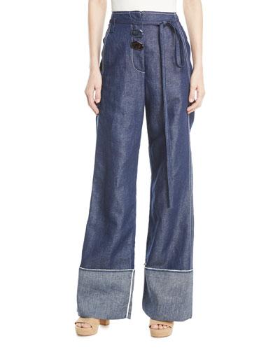 Peyton High-Waist Wide-Leg Linen-Cotton Pants