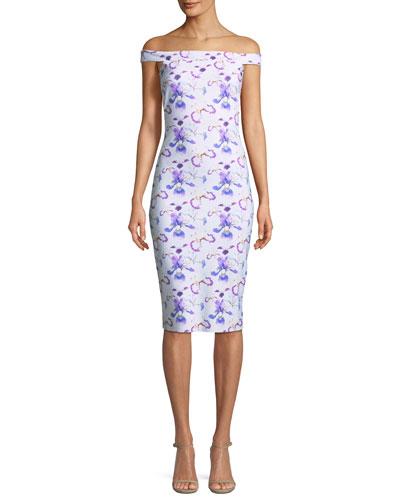 Kalaf Floral-Print Off-the-Shoulder Cocktail Dress