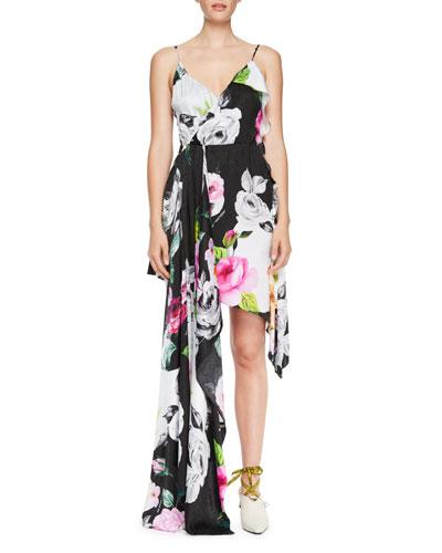 Draped Floral Silk Cami Dress