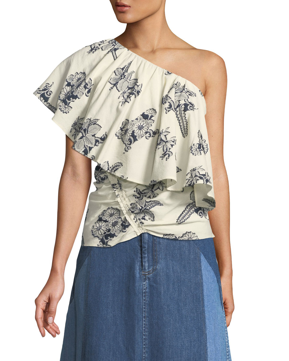 JOSEPHINE ONE-SHOULDER FLORAL-EMBROIDERED TOP