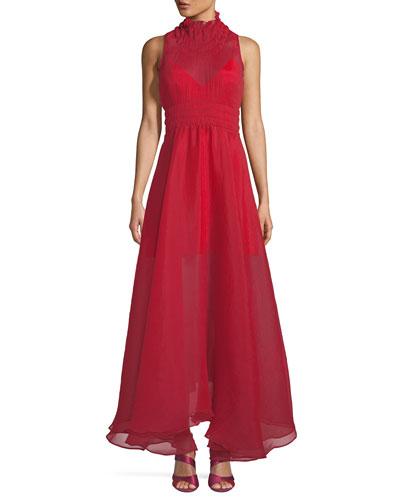 Venus Sleeveless Textured Chiffon Dress