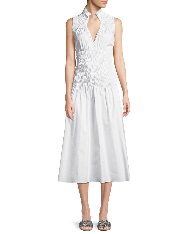 Beaufille DAPHNE SLEEVELESS SMOCKED COTTON SHIRTING DRESS