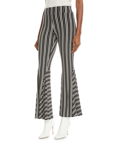 Lamos High-Waist Striped Rib-Knit Flared Pants