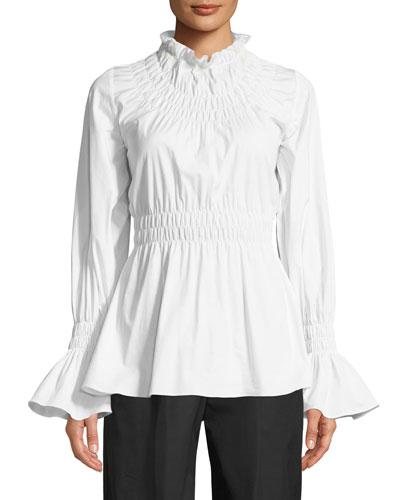 Galileo Smocked Long-Sleeve Cotton Shirting Blouse
