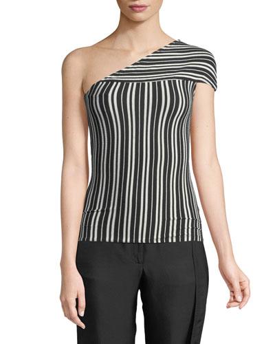 Mensa One-Shoulder Striped Rib-Knit Top
