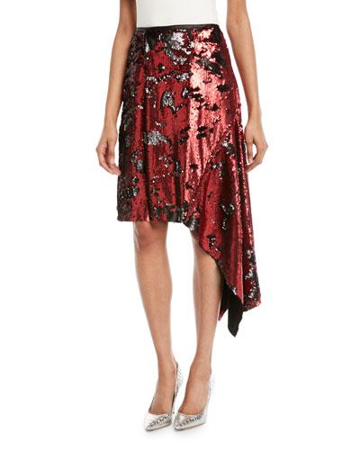Tie-Waist Sequin Asymmetric Skirt