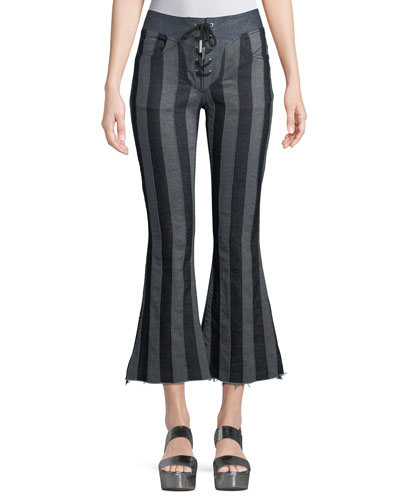Striped Flared Lace-Up Cropped Pants