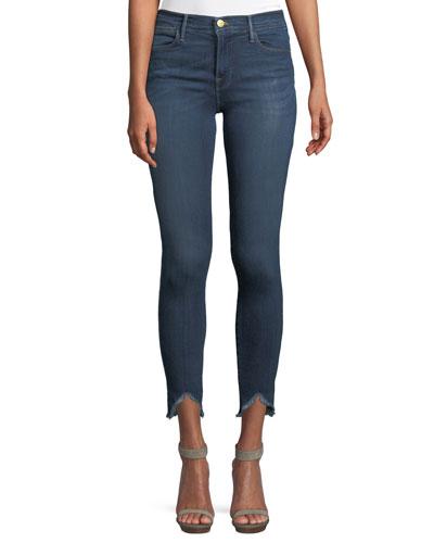High-Rise Skinny Jeans w/ Triangle Hem