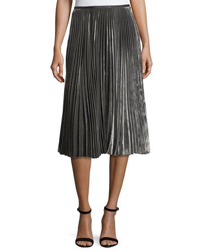 Ranella Pleated Velvet Skirt