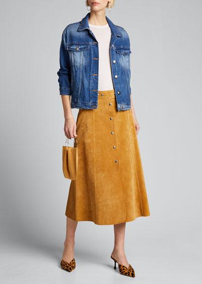 Button-Front Denim Jacket