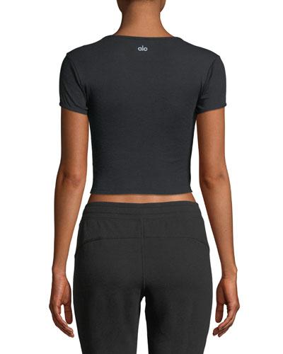 Alo Yoga Crewneck Short-Sleeve Baby Tee, Black