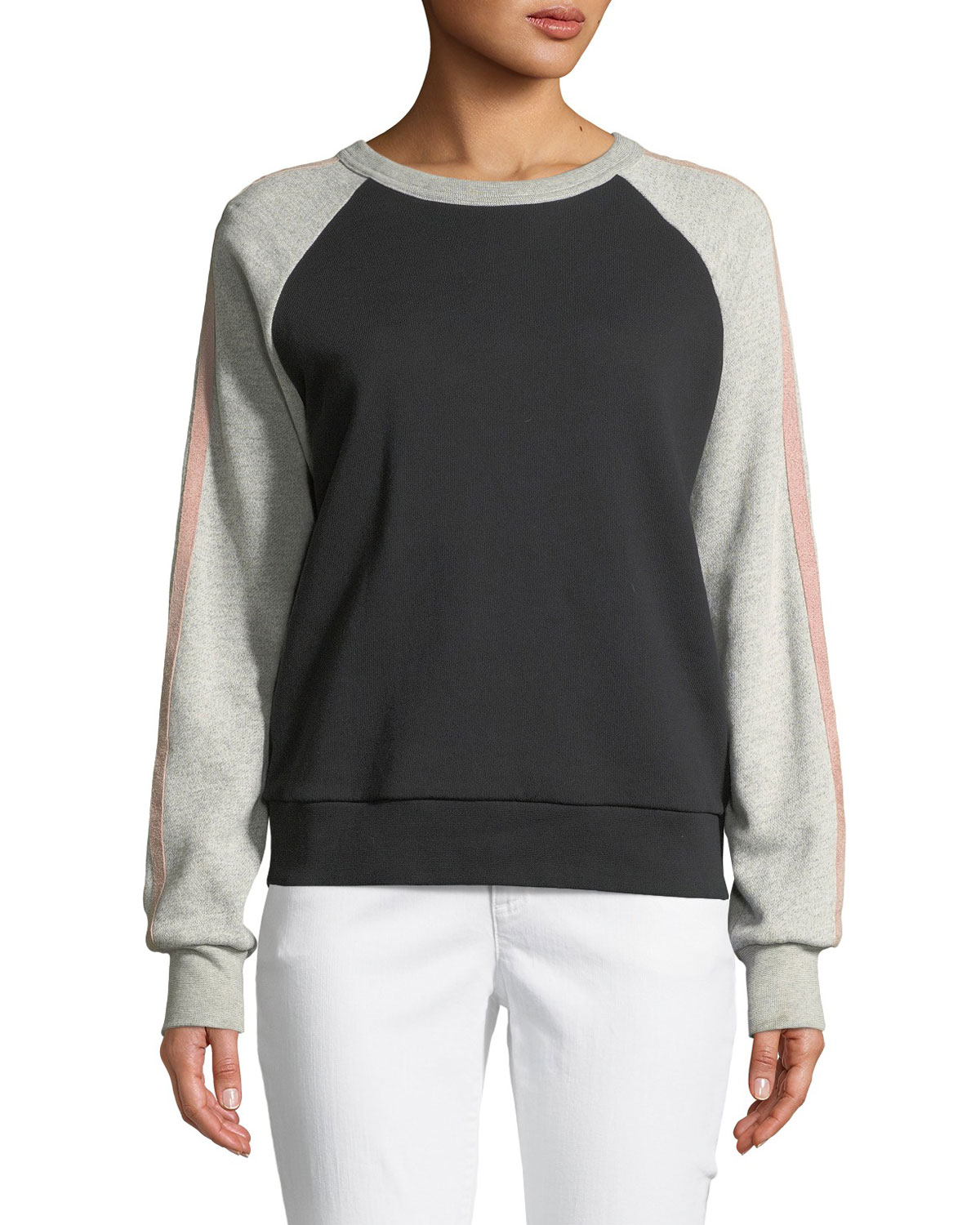Crewneck Raglan Colorblocked Sweatshirt