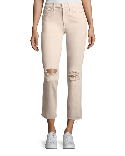 High-Waist Straight-Leg Distressed Ankle Jeans