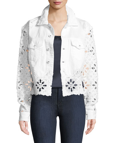Macrame Denim Cropped Jacket