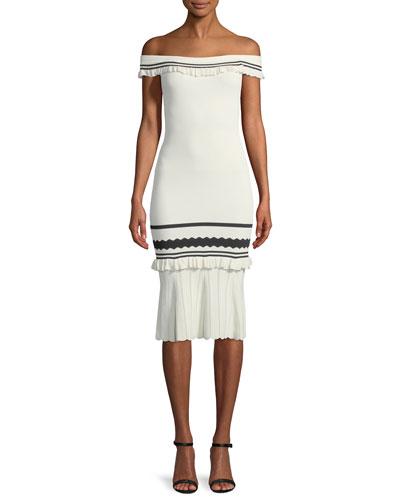Striped Rib-Knit Off-the-Shoulder Body-Con Midi Cocktail Dress
