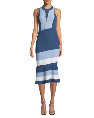 Rib-Knit Colorblock Lace-Up Midi Dress
