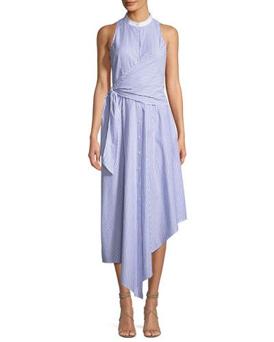 Button-Front Sleeveless Striped Wrap Oxford Dress