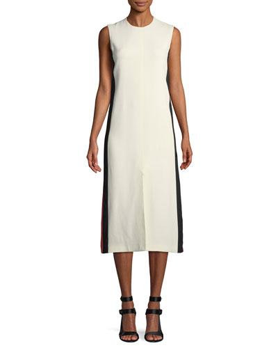 Selene Sleeveless Side-Striped Midi Dress